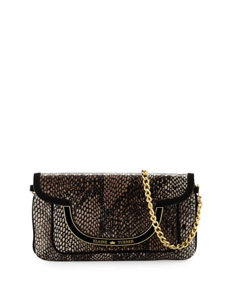 Greta Snake-Print Leather Shoulder Bag, Bark Python