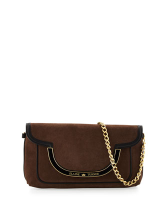 Greta Suede Shoulder Bag, Bark