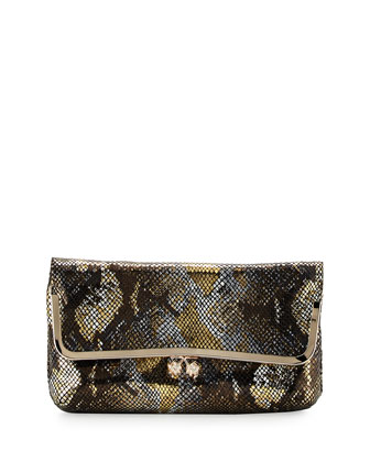 Hazel Foil Python-Pattern Leather Clutch