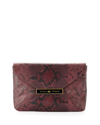 Marty Python-Pattern Leather Clutch, Rose Python