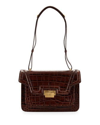 Croc-Leather Accordion Shoulder Bag, Cognac