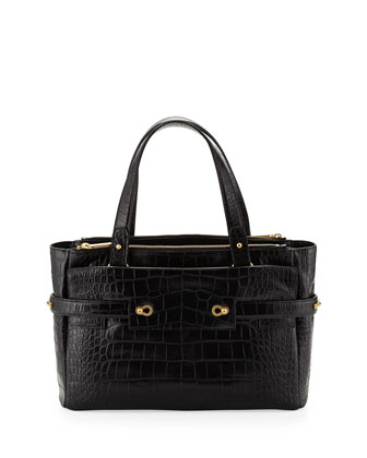 Strappy Croco-Leather Golden Latch Tote, Black Croc
