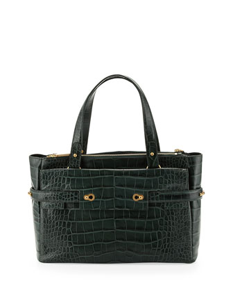 Strappy Croco-Leather Golden Latch Tote, Hunter
