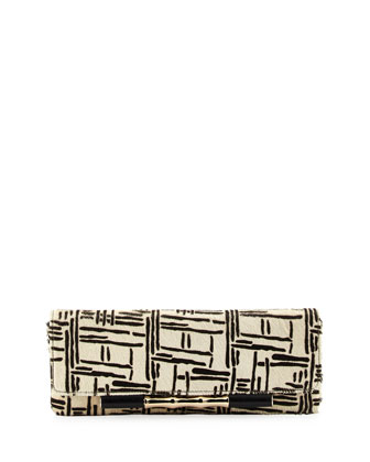 Simone Graphic-Print Calf-Skin Clutch, Etch Print