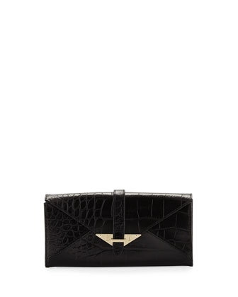 Envelope Croc-Leather Wallet, Black Croco