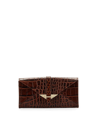 Envelope Croc-Leather Wallet,Cognac
