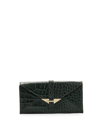 Envelope Croc-Leather Wallet,Hunter