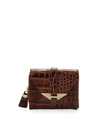 Envelope Croc-Leather French Wallet, Cognac