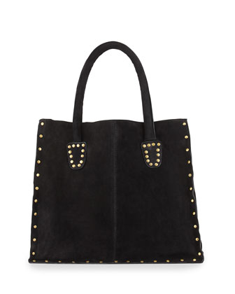 Tori Stud-Trim Box Tote Bag, Black