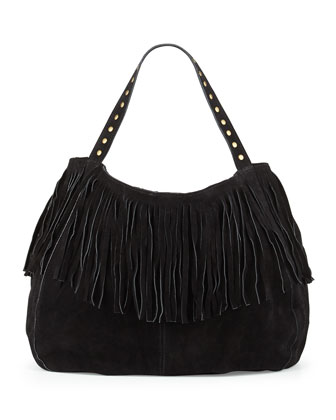 Britni Studded Fringe Hobo Bag, Black