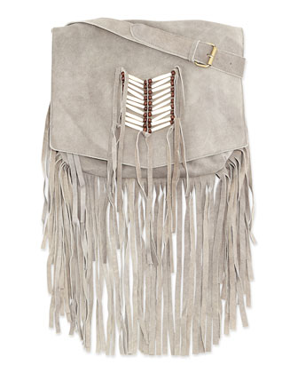 Maria Beaded & Fringed Crossbody Bag, Gray