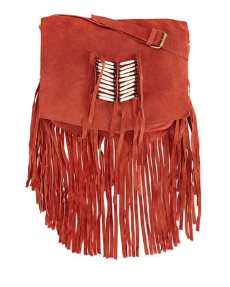 Maria Beaded & Fringed Crossbody Bag, Rust