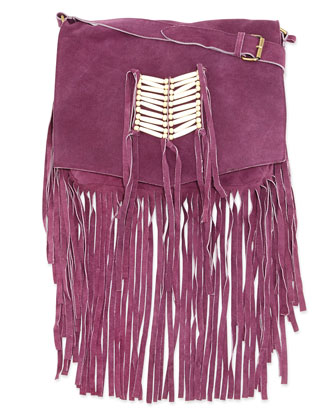 Maria Beaded & Fringed Crossbody Bag, Purple
