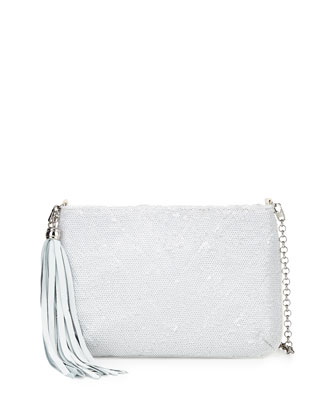 Mimi Sequin Mini Clutch Bag, White