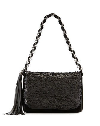 Spangle Sequin Faux-Suede Shoulder Bag, Black