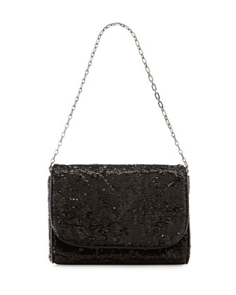Jaz Sequin Shoulder Bag, Black
