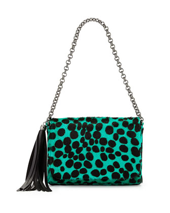 Jaz Spotted Calf-Leather Shoulder Bag, Emerald/Black