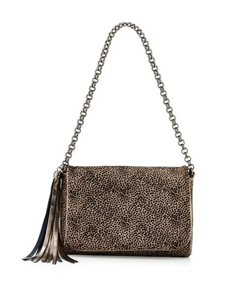 Jaz Leopard-Print Calf-Hair Shoulder Bag, Taupe