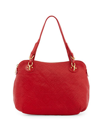 Zimba Woven-Pattern Leather Satchel, Red