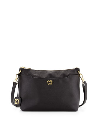 Joy Pebbled Leather Shoulder Bag, Black
