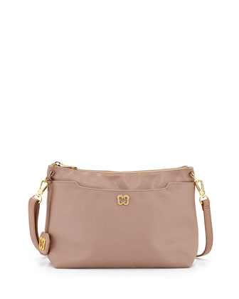 Joy Pebbled Faux-Leather Shoulder Bag, Latte