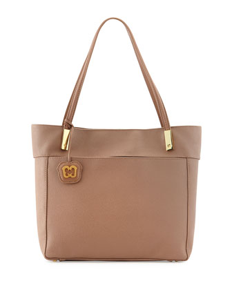 Chant Pebbled PVC Tote Bag, Latte