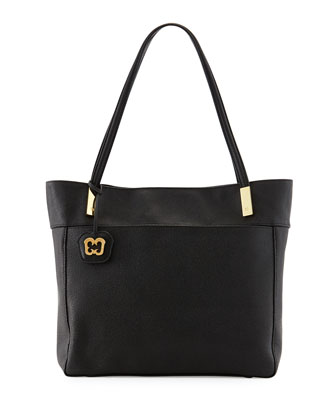Chant Pebbled PVC Tote Bag, Black
