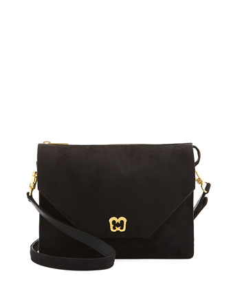 Chelsea Suede PVC Shoulder Bag, Black