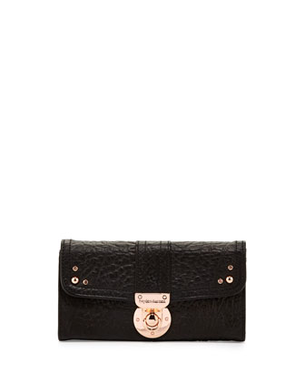 Leather Flap Lock Wallet, Black