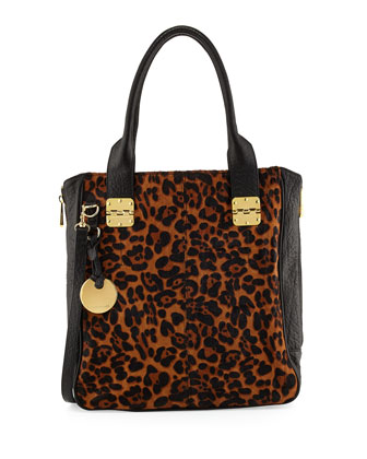 Margaux Calf Hair Tote Bag, Leopard/Black