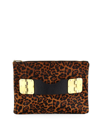Bowdoin Calf Hair Clutch Bag, Leopard/Black