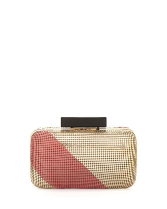 Ella Striped Sequin Clutch, Gold/Pink