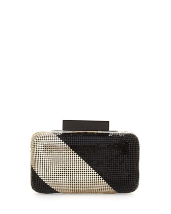 Ella Striped Sequin Clutch, Gold/Black
