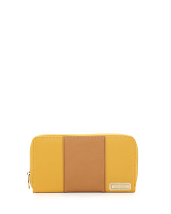 First Class Striped Faux-Leather Zip Wallet, Mustard/Tan