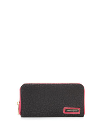 Believe Two-Tone Pebbled Continental Wallet, Black/Pink