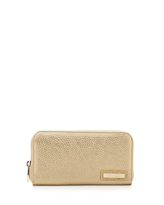 Believe Pebbled Faux Leather Continental Wallet, Light Gold