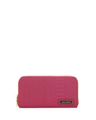 Passion Snake-Embossed Continental Wallet, Berry