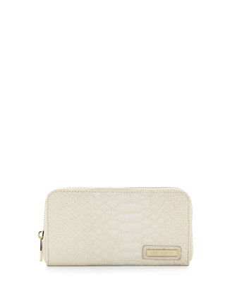 Passion Snake-Embossed Continental Wallet, Cream