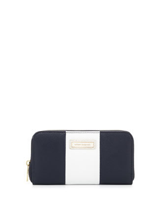 Cruise Colorblock Continental Wallet, Navy/White