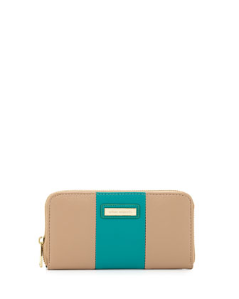 Cruise Colorblock Continental Wallet, Beige/Jade