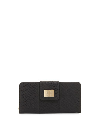 Faith Flap-Top Snake-Embossed Wallet, Black