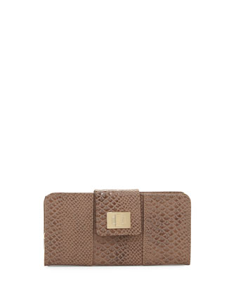 Faith Flap-Top Snake-Embossed Wallet, Tan