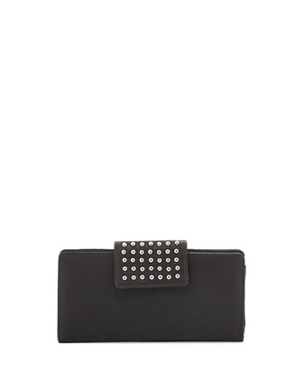 Hot Spot Studded Flap-Top Wallet, Black