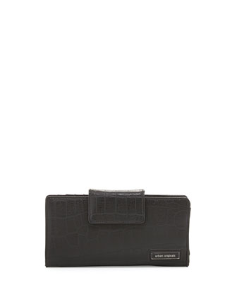Crazy Love Croc-Embossed Flap-Top Wallet, Black