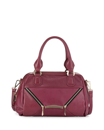 Signe Zipped Envelope Satchel Bag, Wine