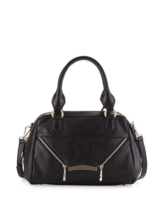 Signe Zipped Envelope Satchel Bag, Black
