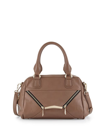 Signe Zipped Envelope Satchel Bag, Taupe