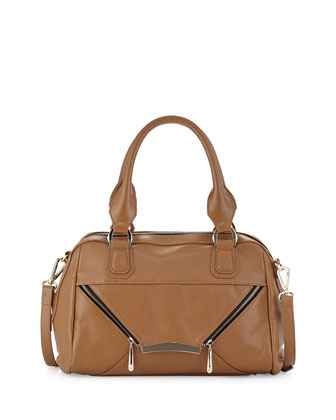 Signe Zipped Envelope Satchel Bag, Cognac