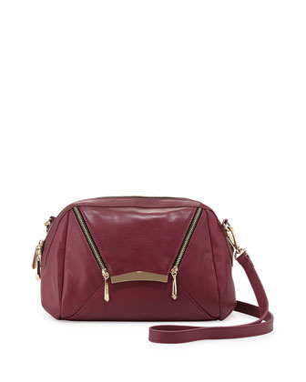 Sven Zipped Envelope Crossbody Bag, Wine