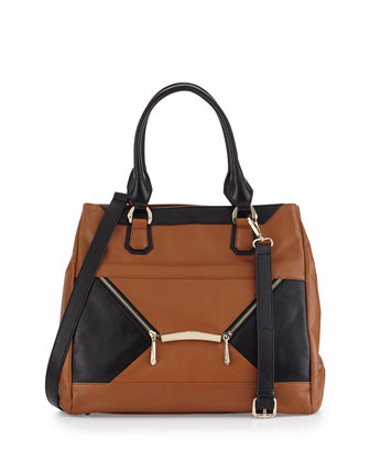 Addie Two-Tone Zipped Envelope Tote Bag, Cognac